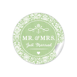 """MR. and MRS.  - Just married"" - Ornamente - grün"