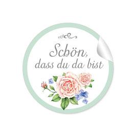 """""""Schön, dass du da bist"""" - Rose  - grün / weiß"""