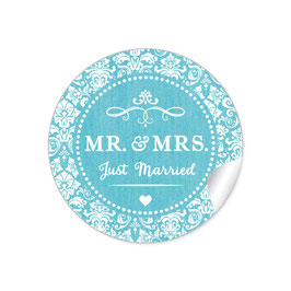 """MR. and MRS.  - Just married"" - Ornamente - türkis"