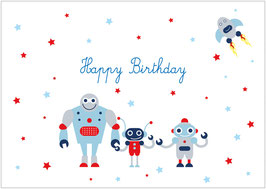 """Happy Birthday"" -  Roboter - Weiß"