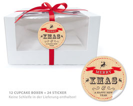"BIO BOX SET - ""Merry XMAS"" Retro - rot natur"
