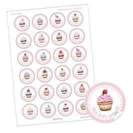 """Cupcake Sticker """"Mit Liebe gemacht"""" - ROSA gemischt"""