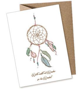 TRAUMFÄNGER PASTELL - WUNDER - 1 Postkarte + Umschlag