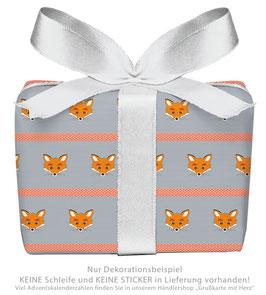 3 Bögen Geschenkpapier groß - FUCHS GESTREIFT - GRAU