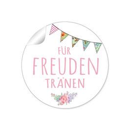 """Für Freudentränen"" - Wimpelkette - rosa"