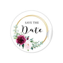 """Save the Date"" - Ringe Eukalyptus Rosen rot rosa"