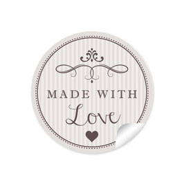 """Made with Love""- Vintage Retro Style - beige"
