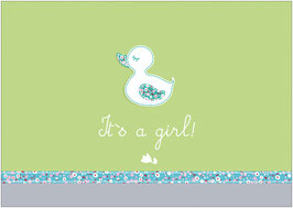 """It´s a girl!"" - Ente - Grün"