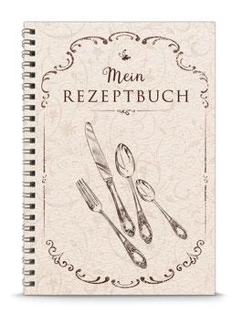 """DIN A5 KREATIV DIY KOCHBUCH """"Mein Rezeptbuch"""" zum Selbstbeschreiben creme (Spiralgebunden)"""