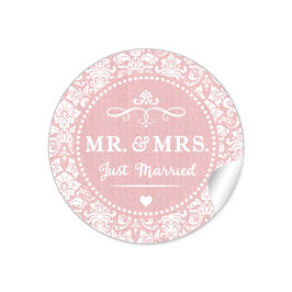"""MR. and MRS.  - Just married"" - Ornamente - rosa"