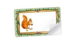 21 Sticker rechteckig klein - Eichhörnchen Nostalgie grün- mit Freitextfeld