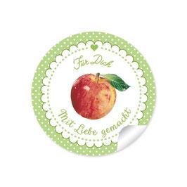 """""""Für Dich - Mit Liebe gemacht""""- Apfel - Punkte grün"""