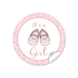 "24 STICKER ""It`s a girl"" - Babyschühchen - rosa"