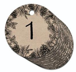 24 ANHÄNGER ADVENTSKALENDERZAHLEN 1-24 •  Zweige Kranz schwarz gedruckt auf original Kraftpapier Karton