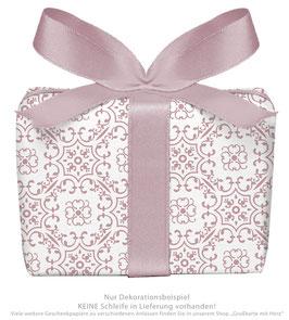 3 Bögen Geschenkpapier groß - Ornamente - Berry weiß