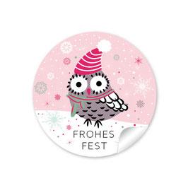 """""""Frohes Fest"""" - Eule - rosa"""