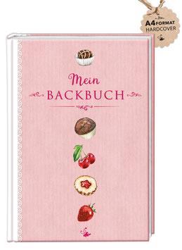 """DIN A4 KREATIV DIY BACKBUCH """"Mein Backbuch"""" zum Selbstbeschreiben rosa (Hardcover)"""