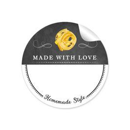MADE WITH LOVE- HOMEMADE STYLE PASTA - Kreidetafel schwarz weiß - mit Freitextfeld BREIT