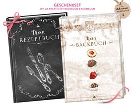 """GESCHENKSET: DIN A4 KREATIV DIY BACKBUCH  & KOCHBUCH """"Mein Backbuch & Mein Kochbuch"""" schwarz / braun zum Selbstbeschreiben (Hardcover)"""