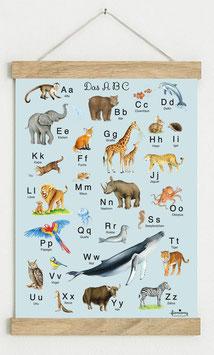 Din A3 BLAU • ABC Poster Lernposter Tiere Alphabet Kinderzimmer Tierposter Zoo Wald Safari Afrika Tiere Für Kindergarten, zum Schulanfang & 1. Klasse