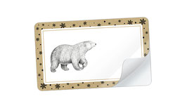 21 Sticker rechteckig klein -Eisbär Snow ocker Senfgelb weiß - mit Freitextfeld