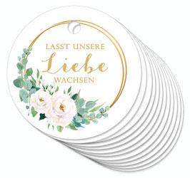 12 ANHÄNGER • Lasst unsere Liebe gemacht • Boho Rosen Ringe weiß grün