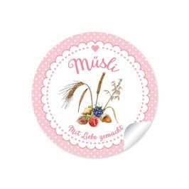 """""""Müsli - Mit Liebe gemacht""""- Punkte rosa"""