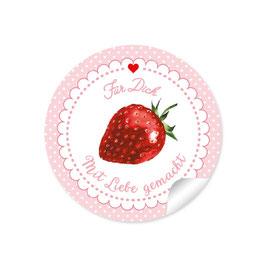 """""""Für Dich - Mit Liebe gemacht""""- Erdbeere- Punkte rosa"""