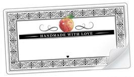 """10 Sticker rechteckig groß -""""Handmade with Love""""- Apfel Ornamente - mit Freitextfeld"""