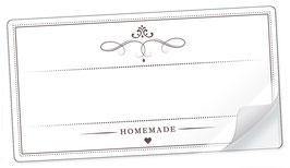 """10 Sticker rechteckig groß -""""Homemade""""- WEIß - mit Freitextfeld"""