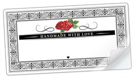 """10 Sticker rechteckig groß -""""Handmade with Love""""- Himbeere Ornamente - mit Freitextfeld"""