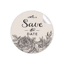 """Save the Date"" - Rosen - beige / schwarz"