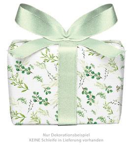 3 Bögen Geschenkpapier groß - Zweige grün gedruckt auf PEFC™ zertifiziertem Papier