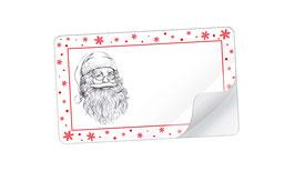 21 Sticker rechteckig klein -Weihnachtsmann Snow rot weiß - mit Freitextfeld