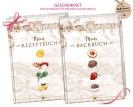 """GESCHENKSET: DIN A4 KREATIV DIY BACKBUCH  & KOCHBUCH """"Mein Backbuch & Mein Kochbuch"""" braun zum Selbstbeschreiben (Hardcover)"""