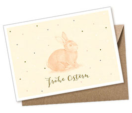 POSTKARTE + UMSCHLAG • HASE GELB PASTELL FROHE OSTERN