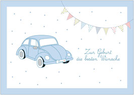 """""""Zur Geburt die besten Wünsche!""""  - Beetle - Blau"""