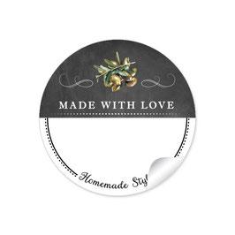 MADE WITH LOVE- HOMEMADE STYLE OLIVEN - Kreidetafel schwarz weiß - mit Freitextfeld BREIT