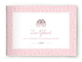"""DIN A5 BÜCHLEIN """"Zur Geburt - DIE SCHÖNSTEN ERINNERUNGEN"""" mit Schuhe rosa (geheftet)"""