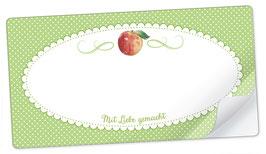 """10 Sticker rechteckig groß -""""Mit Liebe gemacht""""- Apfel grün - mit Freitextfeld"""