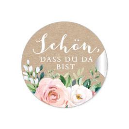 """""""Schön, dass du da bist"""" - Kraftpapier Look Rosen Zweige Grün Apricot weiß"""
