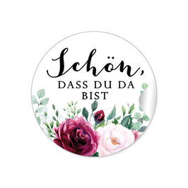"""""""Schön, dass du da bist"""" - Rosen Zweige Grün rot rosa weiß"""