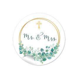 """""""MR. and MRS. - Eukalyptus Ringe Kreuz weiß grün"""