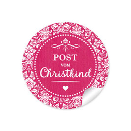 """Post vom Christkind"" -  Retro Vintage - fuchsia rot"