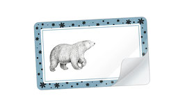 21 Sticker rechteckig klein -Eisbär Snow blau weiß - mit Freitextfeld