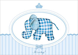 """It´s a boy!"" - Elefant - Blau"