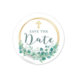 """Save the Date"" - Ringe Kreuz Eukalyptus"