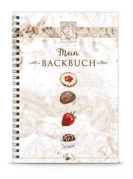 """DIN A5 KREATIV DIY BACKBUCH """"Mein Backbuch"""" zum Selbstbeschreiben braun (Spiralgebunden)"""