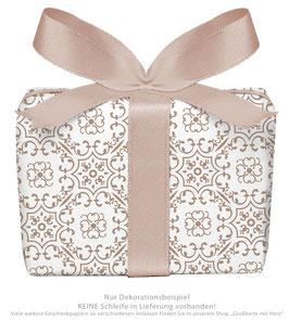 3 Bögen Geschenkpapier groß - Ornamente - braun weiß