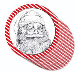 12 ANHÄNGER • Weihnachtsmann Nikolaus rot weiß gstreift